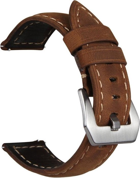 Leren Bandje Voor de Samsung Gear S3 / Galaxy watch 46mm SM-R800 - Leren Armband / Polsband / Strap Band / Bruin zilveren gesp | Watchbands-shop.nl