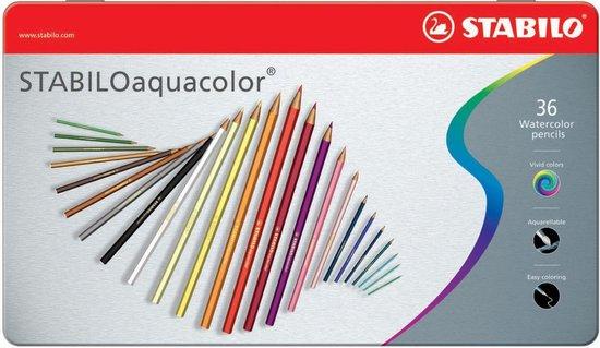 STABILO Aquacolor - Premium Aquarel Kleurpotlood - Metalen Etui Met 36 Kleuren
