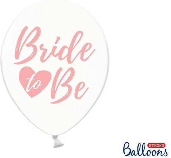 Ballonnen clear Bride To Be pink 50 stuks