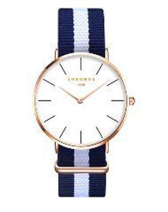 Hidzo Horloge Chronos ø 37 mm – Blauw/Wit/Blauw – Inclusief horlogedoosje