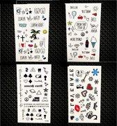 Plak Tattoos - Kleurrijke Cartoon Tattoo - Tijdelijke Tatoeage - Festival Tatoes - Zomer feest tatoeage's - Tattoo - 4 Kleine Figuurtjes vellen