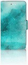 Motorola Moto C Plus Uniek Wallet Book Case Hoesje Painting Blue