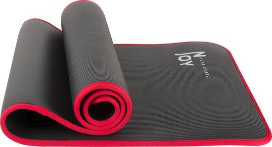 Njoy Your Sports Yoga Mat - NBR Zachtschuim - Zwart/Rood - 183 x 61 x 1.0 cm