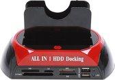 "Alles-in-1 HDD Docking 2.5 ""/3.5"" Kaartlezer IDE SATA Dock Station OTB-functie Zwart en rood"