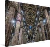 Het interieur van de binnenkant van de Kathedraal van Milaan Canvas 180x120 cm - Foto print op Canvas schilderij (Wanddecoratie woonkamer / slaapkamer) XXL / Groot formaat!