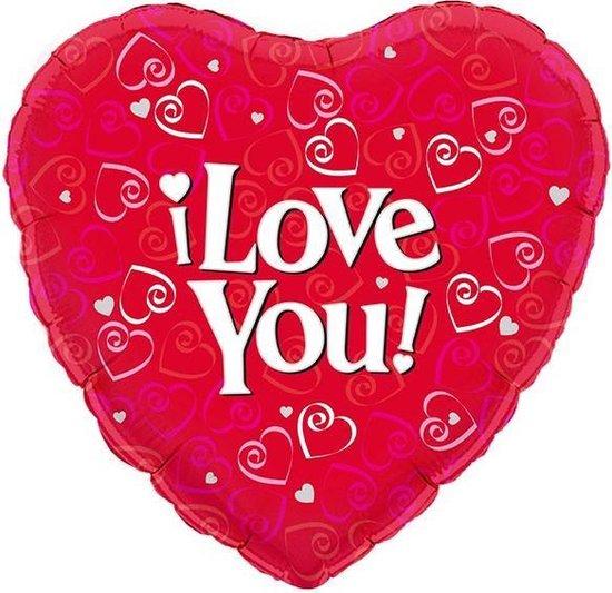 Oaktree 'I Love You' valentijn folieballon Ø 45 cm - rood (excl helium)