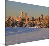 Een besneeuwd Denver in de Verenigde Staten Canvas 60x40 cm - Foto print op Canvas schilderij (Wanddecoratie woonkamer / slaapkamer)