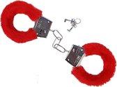 Metalen handboeien met rode imitatie bont (incl. 2 sleutels)