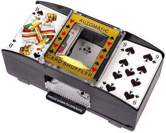 Speelkaarten schudmachine op batterijen - Zwart