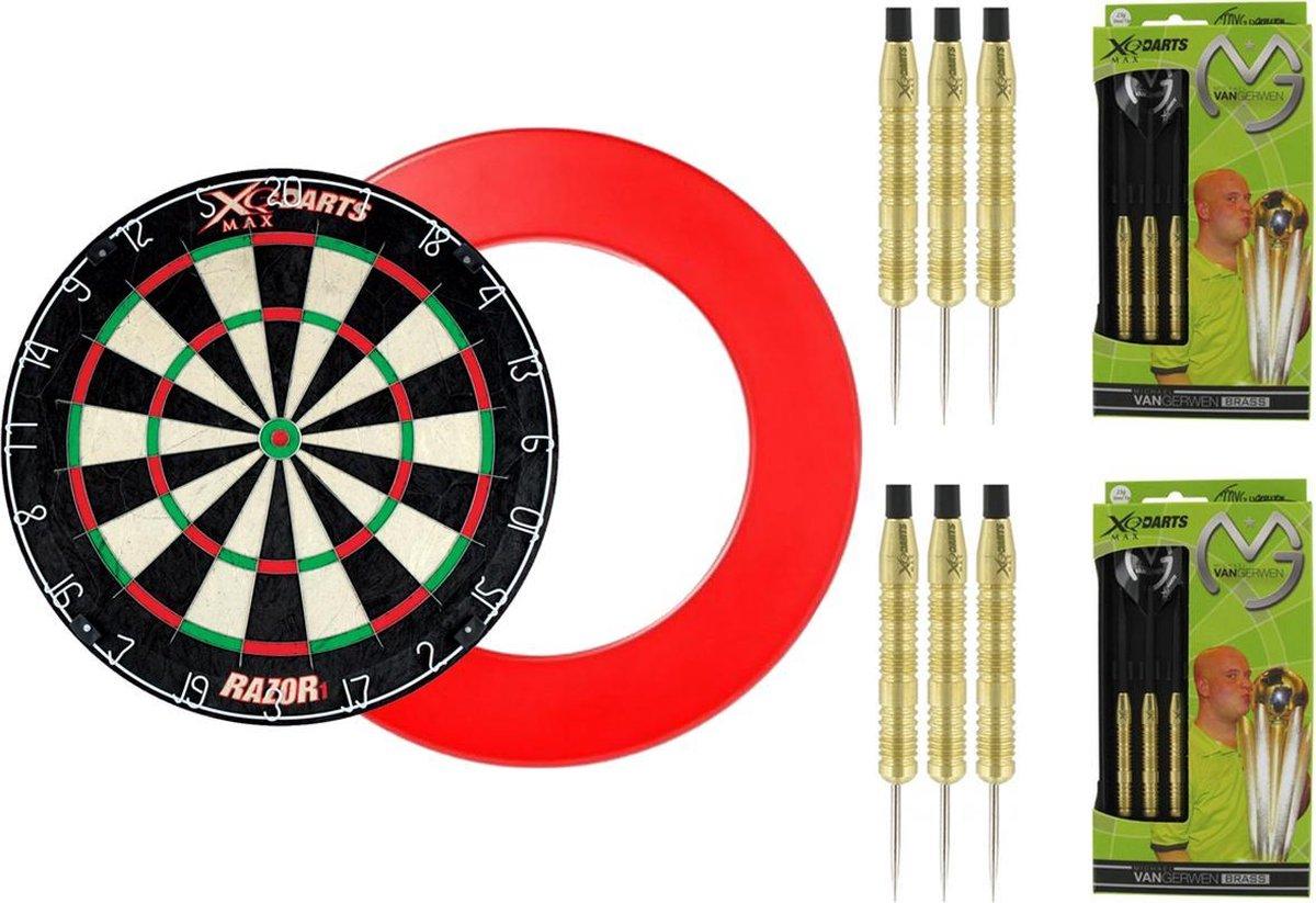 XQ Max - Razor1 Bristle - dartbord - inclusief - dartbord surround ring - Rood - inclusief 2 sets 100% Brass Michael van Gerwen - 20 gram - dartpijlen