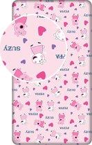 Peppa Pig Hearts - Hoeslaken - Eenpersoons - 90 x  200 cm - Roze