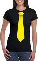 Zwart t-shirt met gele stropdas dames 2XL