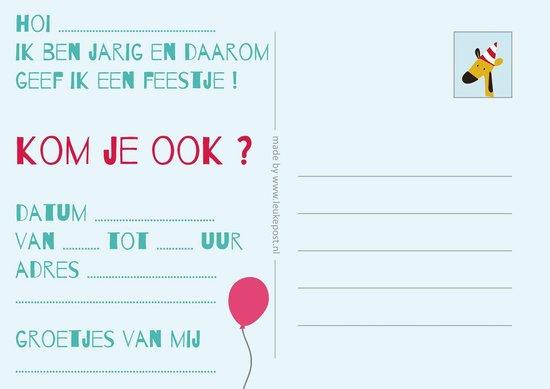 Uitnodigingen voor Kinderfeestje - Set van 10 x uitnodiging - Dierentuin - invulbaar