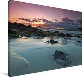 Zonsondergang bij de Galapagoseilanden Canvas 90x60 cm - Foto print op Canvas schilderij (Wanddecoratie woonkamer / slaapkamer)