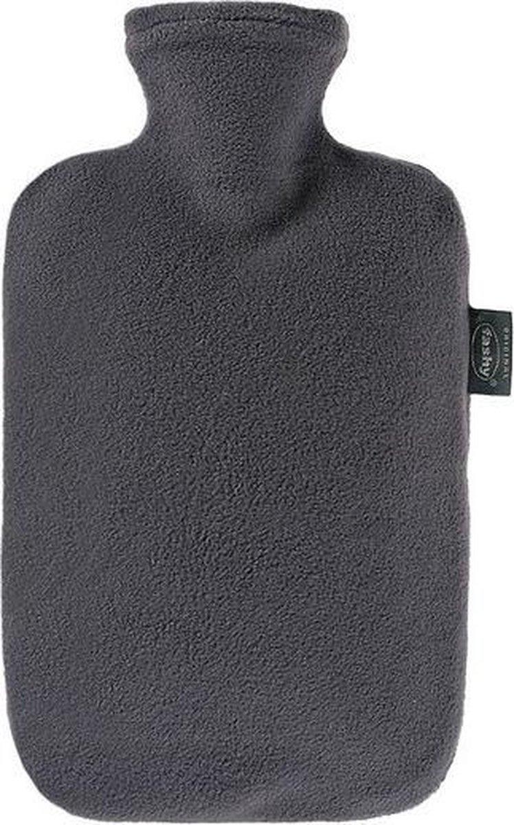 Fashy warm water kruik - Fleece hoes grijs - 2 liter