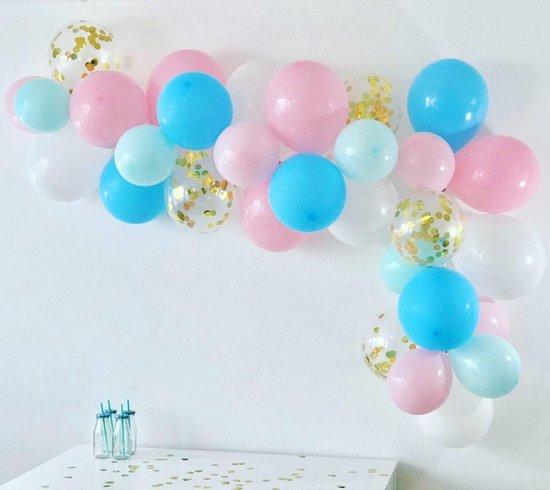 Ballonnenboog voor gender reveal party / babyshower 2,5 meter met gouden confetti