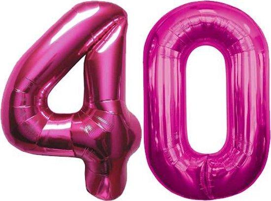 Cijfer 40 Magenta Helium 86 cm Excl. helium