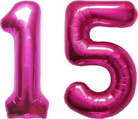 Cijfer 15 Magenta Helium 86 cm Excl. helium