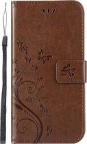 Shop4 - Samsung Galaxy A10 Hoesje - Wallet Case Vlinder Patroon Bruin