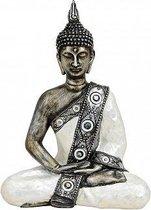 Thaise Boeddha beeldje zilver/wit 27 cm