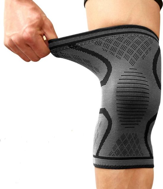 Sport-Plein Kniebrace Kniebandage - Zwart / Grijs - maat L