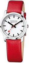 Mondaine Simply Elegant A400.30351.11SBC Horloge - Leer - Rood - Ø36 mm