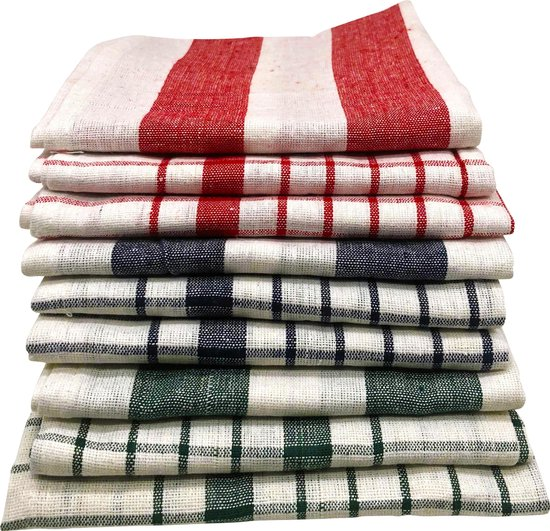 Cenocco CC-9068: 9 - Pieces Vintage Stripe & Plaid Katoenen Keukendoek Set - Wit