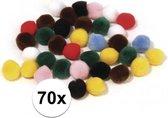 70x knutsel pompons kleuren assortiment 7 mm