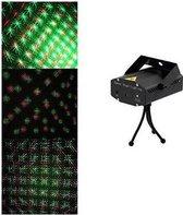 Mini Laser Stage Lighting rood/groen muziekgestuurd - Zwart