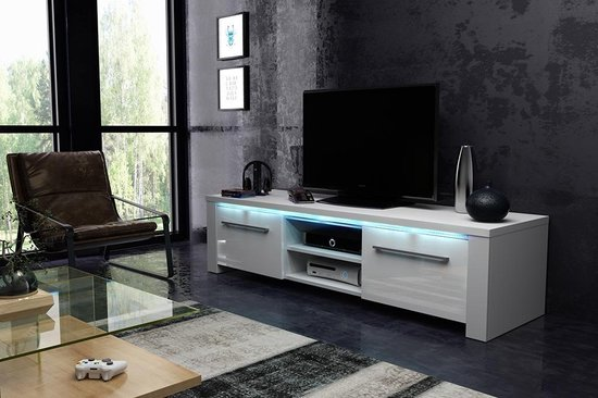 Tv Kast Wit Modern.Bol Com Tvmeubel Hoogglans Wit Modern Design Inclusief Led