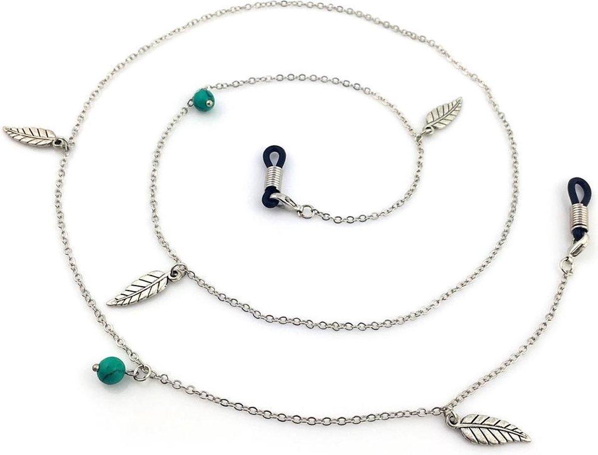 Brillenkoord - Kettinkje voor Zonnebril - Bedels en Veertjes - 78cm - Zilverkleurig - Dielay - Dielay