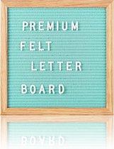 Letterbord 25 x 25 cm. - Mintgroen vilt - Inclusief 300 witte letters & Symbolen - Frame eikenhout