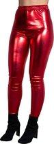 Glanzende legging – disco legging – dans legging – dance legging – hoge sluiting - festivals – disco feest, disco party – verkleedfeest – De Toppers – feest – Johnny en Anita - Rood - L