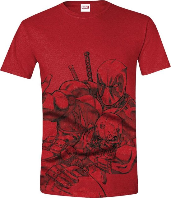 Deadpool - Sketch Mannen T-Shirt - Rood - S