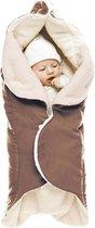 Wallaboo Babydeken Nore - wikkeldeken voor in autostoel en kinderwagen - zacht suéde en warm bont - 85 * 85 cm - Bruin