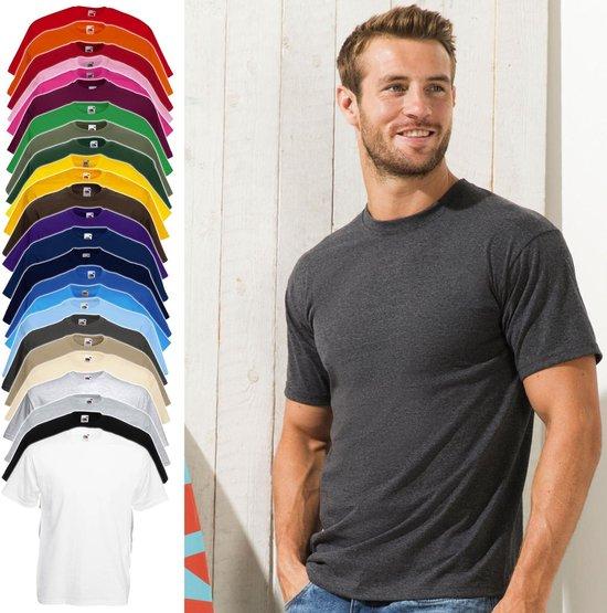 12 Pack Zwarte Shirts Fruit Of The Loom Ronde Hals Maat Xxxxxl (5xl) Valueweight