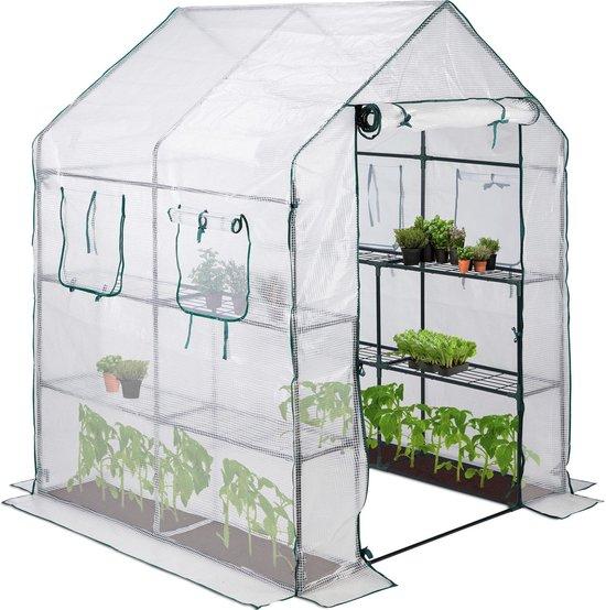 relaxdays broeikas 4 vensters - hobbykas - tuinkas - 2 m² - kweekkast - transparant groen