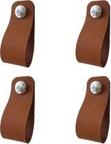 Set van 4 leren lussen / handgrepen Cognac 2,5x14cm (11cm gaatjesafstand / 6,5cm luslengte)