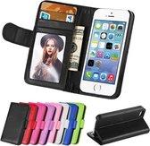 Portemonnee case hoesje zwart voor iPhone 5 5S SE