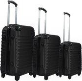 3 delig ABS kofferset hardcase inclusief handbagage zwart van FNR