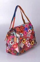 "Boho Ibiza schoudertas van patchwork gekleurde stukjes leer model  "" Ebysos "" by Viabologna.nl"