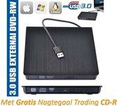 Externe CD en DVD speler / brander writer + gratis CD-R (draagbaar / extern USB 3.0 geschikt voor o.a. CD-R CD-RW DVD-R DVD-RW) | Plug- and Play