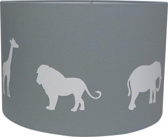 Hanglamp Roozje - Jungle dieren silhouette grijs wit - 30cm