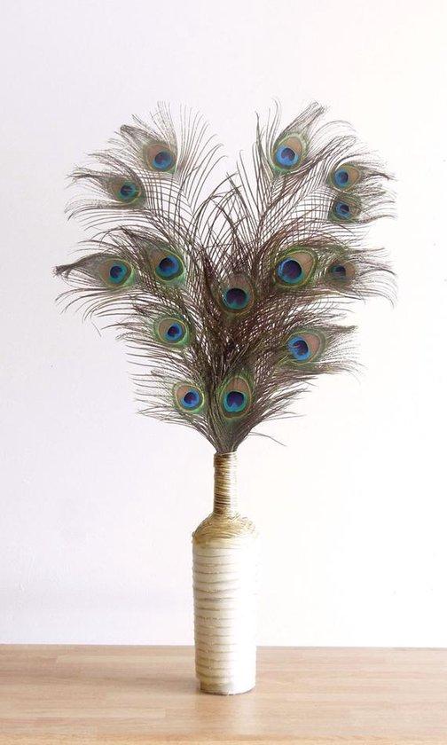 Natuurlijk Bloemen Pauwenveren - 10 stuks - 90-100 cm - Decoratie pauwen veren
