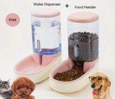 Automatische voer- en waterdispenser voor honden en katten - Roze - Set - Voerbak - Drinkbak - Hond - Drinkbakken - Dieren - Automatisch - Voeden - Drinken - Voer
