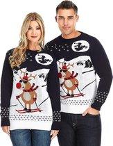 """Foute Kersttrui """"Rudolf chillt op de Piste"""" - Grappige Kersttrui - Christmas Sweater - Heren   Mannen - Dames   Vrouwen - Volwassen Maat L"""