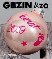 Roze Kerstbal met Naam - Kerst TIP December - 6 CM - cadeau - eerste 1e kerstmis