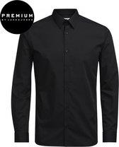Jack and Jones Premium Heren Overhemd Non Iron Zwart Twill Kent Slim Fit - XS