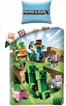 Minecraft Dekbedovertrek Eenpersoons BATTLE | 100% Katoen | 140x200