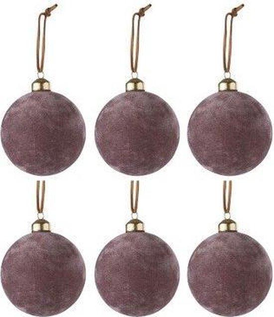 Doos Van 6 Kerstballen Fluweel Glas Roze Small
